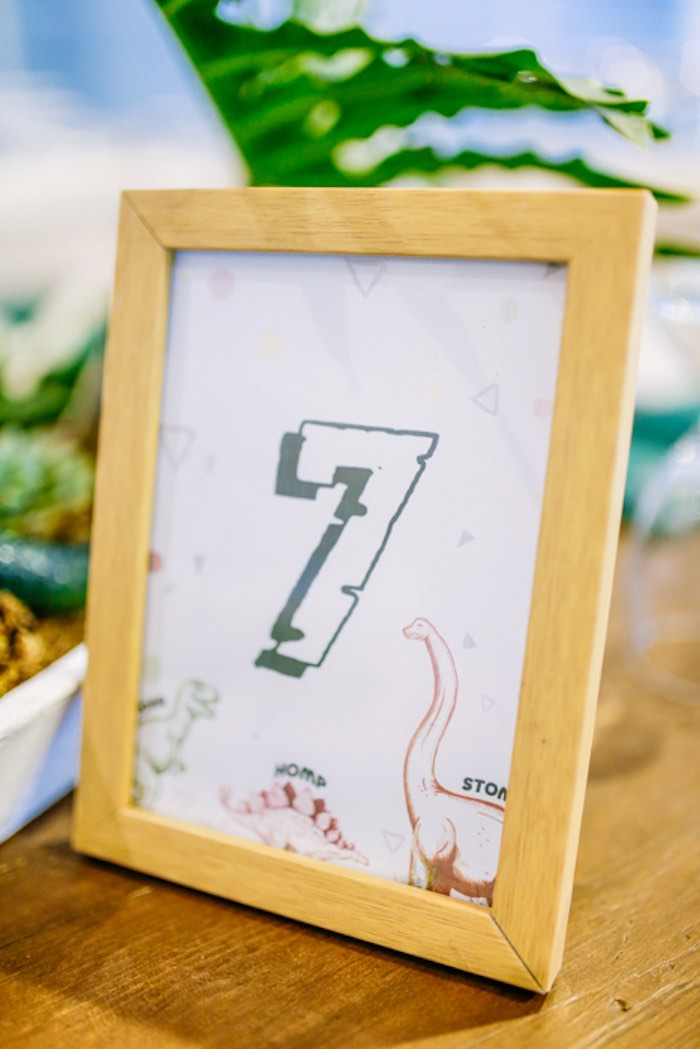 Dino Table Number from a Modern Rustic Dinosaur Birthday Party on Kara's Party Ideas | KarasPartyIdeas.com (58)