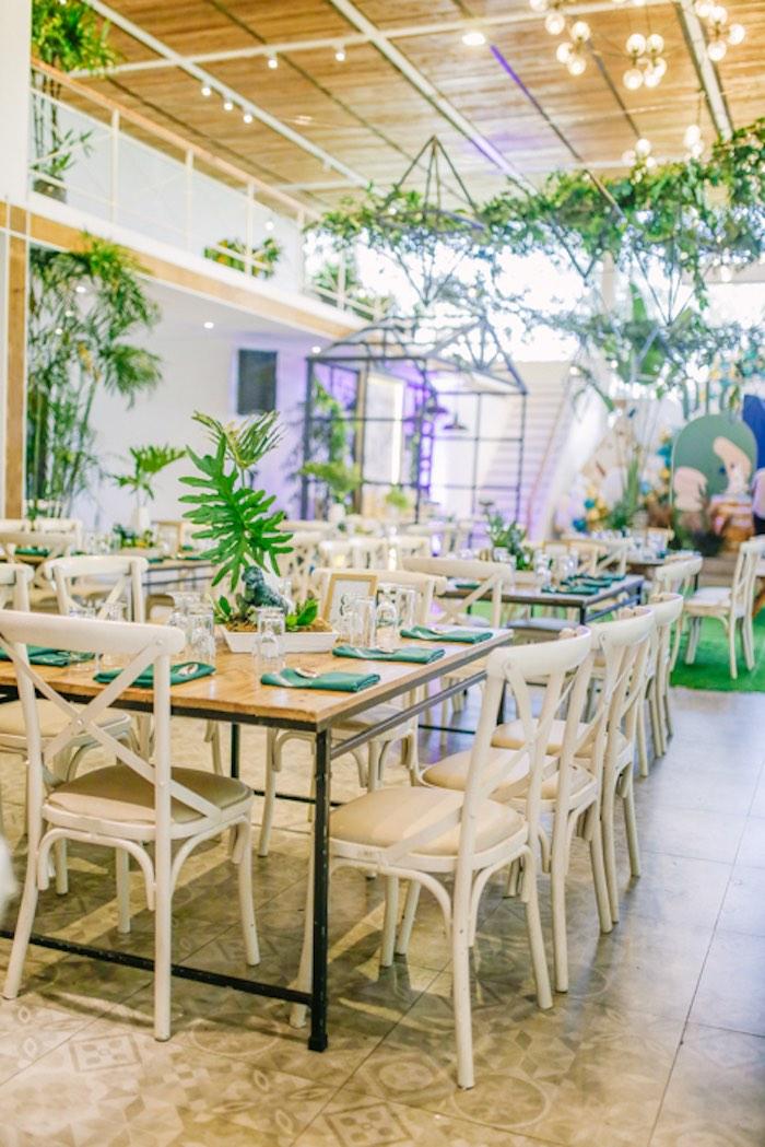 Dinosaur Party Table from a Modern Rustic Dinosaur Birthday Party on Kara's Party Ideas | KarasPartyIdeas.com (37)