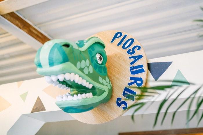 Dinosaur Entrance Sign from a Modern Rustic Dinosaur Birthday Party on Kara's Party Ideas | KarasPartyIdeas.com (35)