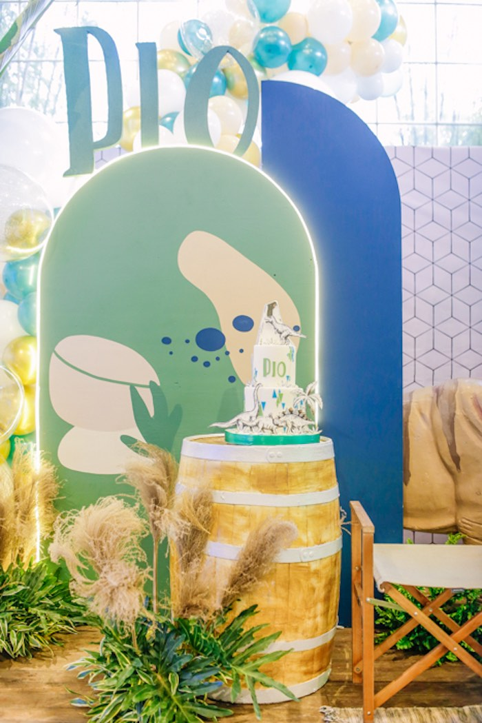 Cake Barrel from a Modern Rustic Dinosaur Birthday Party on Kara's Party Ideas | KarasPartyIdeas.com (33)