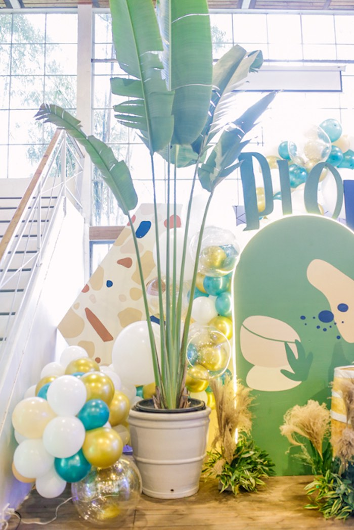 Tropical Plant Decoration from a Modern Rustic Dinosaur Birthday Party on Kara's Party Ideas | KarasPartyIdeas.com (32)