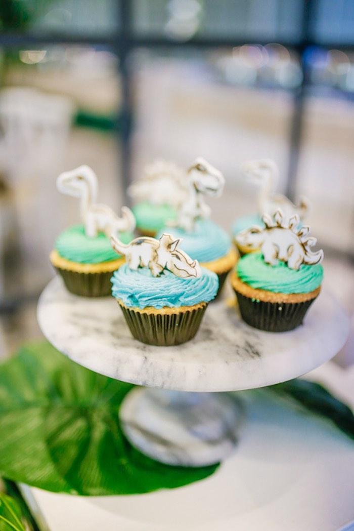 Dinosaur Cupcakes from a Modern Rustic Dinosaur Birthday Party on Kara's Party Ideas | KarasPartyIdeas.com (26)