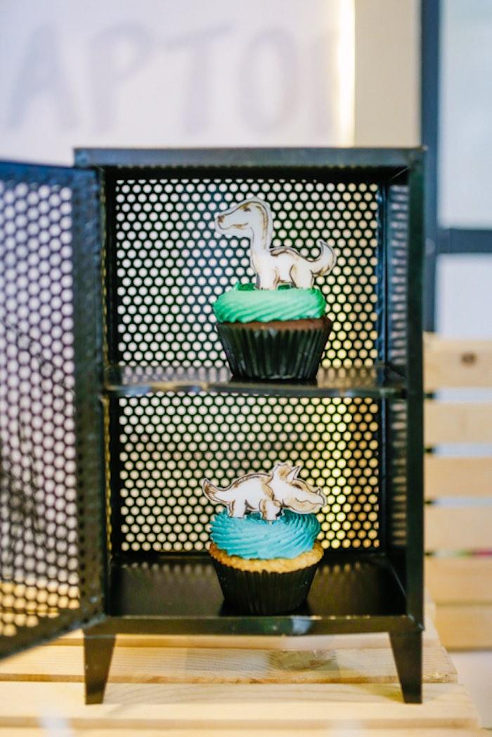 Dinosaur Cupcakes from a Modern Rustic Dinosaur Birthday Party on Kara's Party Ideas | KarasPartyIdeas.com (22)
