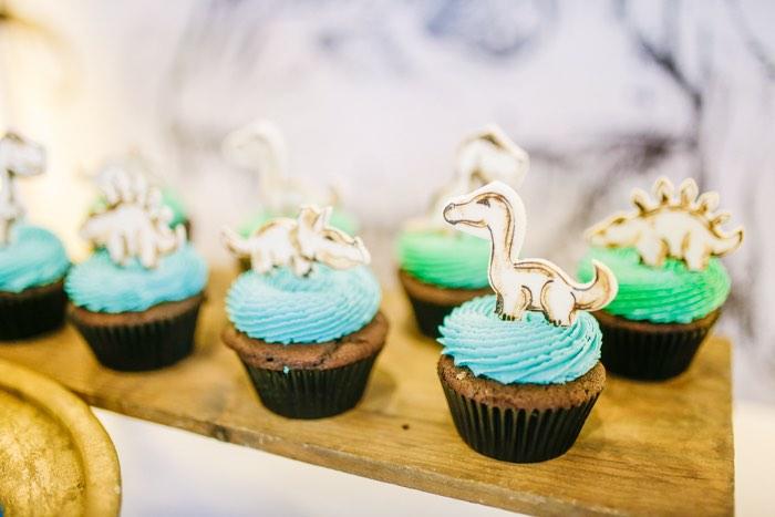 Dinosaur Cupcakes from a Modern Rustic Dinosaur Birthday Party on Kara's Party Ideas | KarasPartyIdeas.com (21)