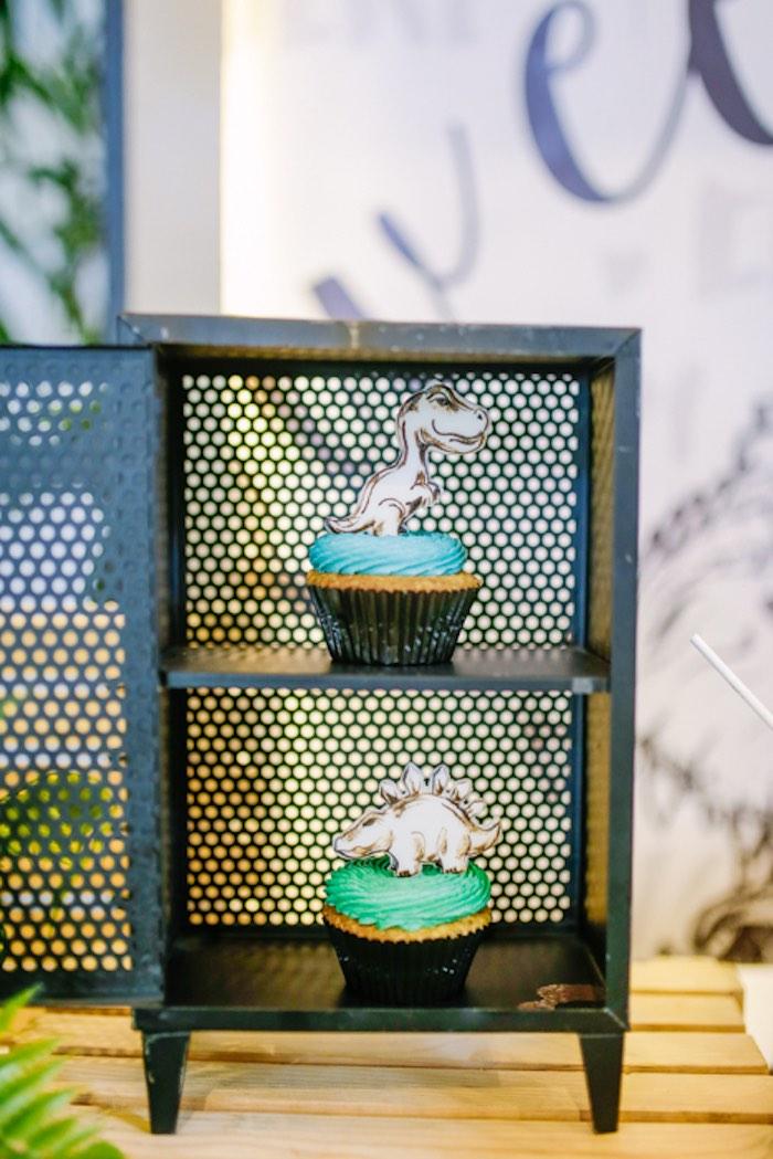 Dinosaur Cupcakes from a Modern Rustic Dinosaur Birthday Party on Kara's Party Ideas | KarasPartyIdeas.com (20)