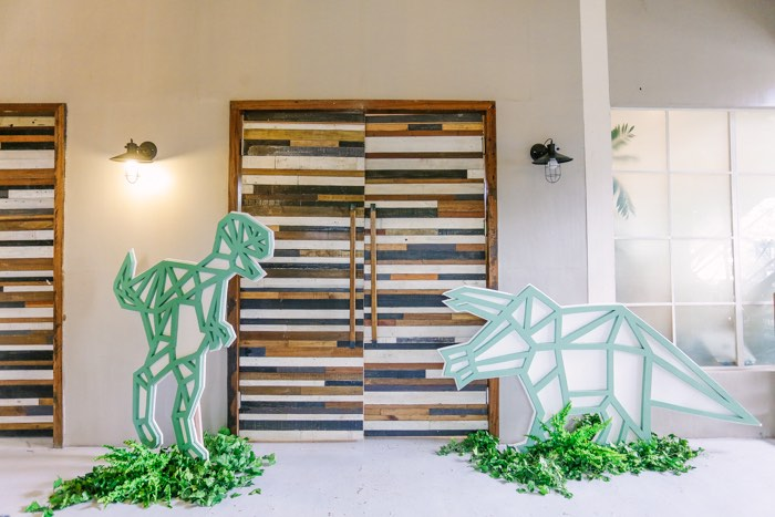 Dino Party Entrance from a Modern Rustic Dinosaur Birthday Party on Kara's Party Ideas | KarasPartyIdeas.com (17)