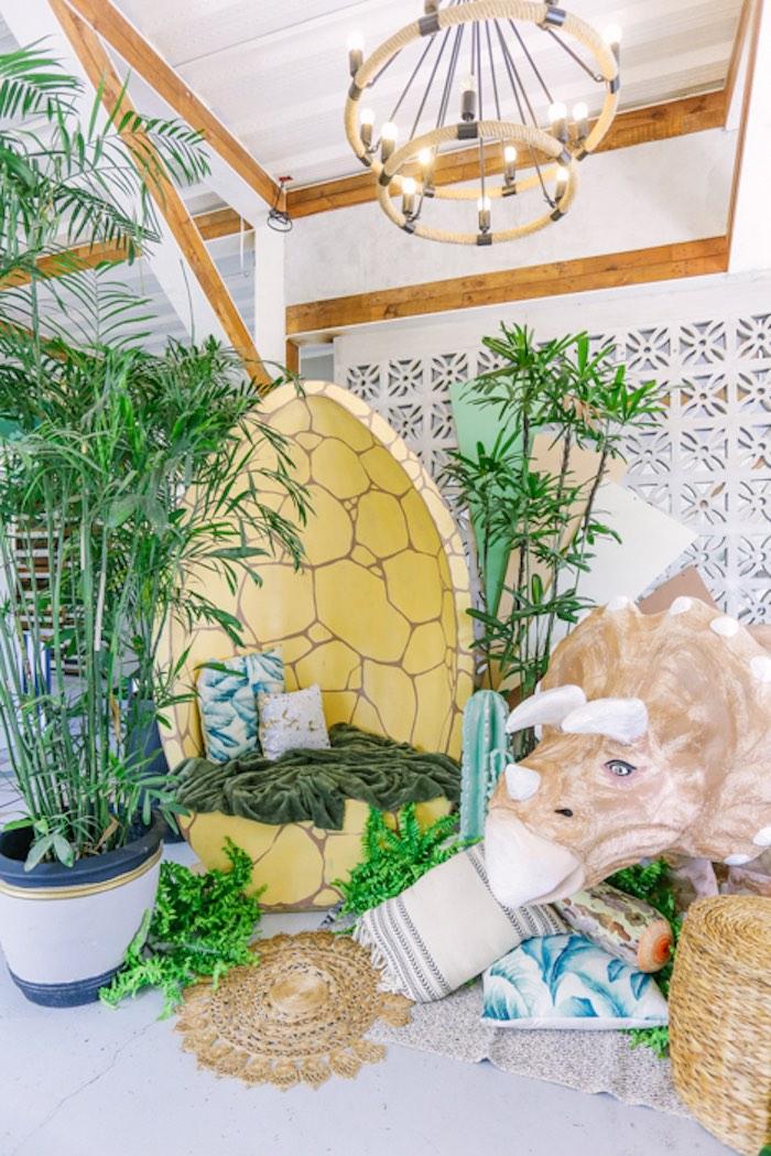 Dinosaur Egg Lounge from a Modern Rustic Dinosaur Birthday Party on Kara's Party Ideas | KarasPartyIdeas.com (15)