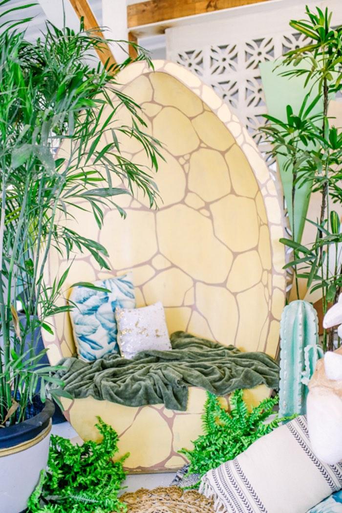 Dinosaur Egg Lounge from a Modern Rustic Dinosaur Birthday Party on Kara's Party Ideas | KarasPartyIdeas.com (14)