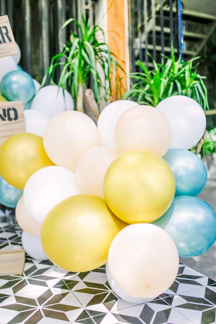 Balloon Install/Garland from a Modern Rustic Dinosaur Birthday Party on Kara's Party Ideas | KarasPartyIdeas.com (12)
