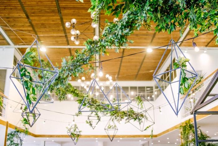 Geometric-shape & Vine Ceiling from a Modern Rustic Dinosaur Birthday Party on Kara's Party Ideas | KarasPartyIdeas.com (11)