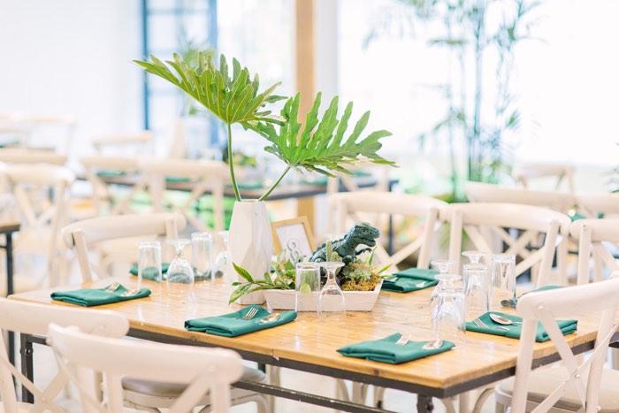 Modern Dino Table from a Modern Rustic Dinosaur Birthday Party on Kara's Party Ideas | KarasPartyIdeas.com (55)