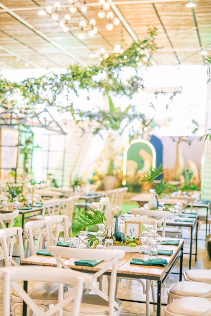 Prehistoric Guest Tables from a Modern Rustic Dinosaur Birthday Party on Kara's Party Ideas | KarasPartyIdeas.com (9)