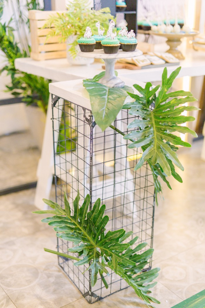 Cage Pedestal adorned with Tropical Leaves from a Modern Rustic Dinosaur Birthday Party on Kara's Party Ideas | KarasPartyIdeas.com (53)