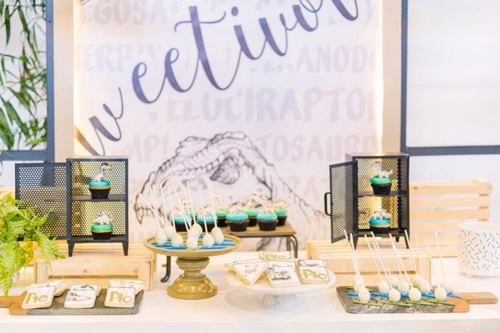 Sweetivore Dinosaur Dessert Table from a Modern Rustic Dinosaur Birthday Party on Kara's Party Ideas | KarasPartyIdeas.com (51)