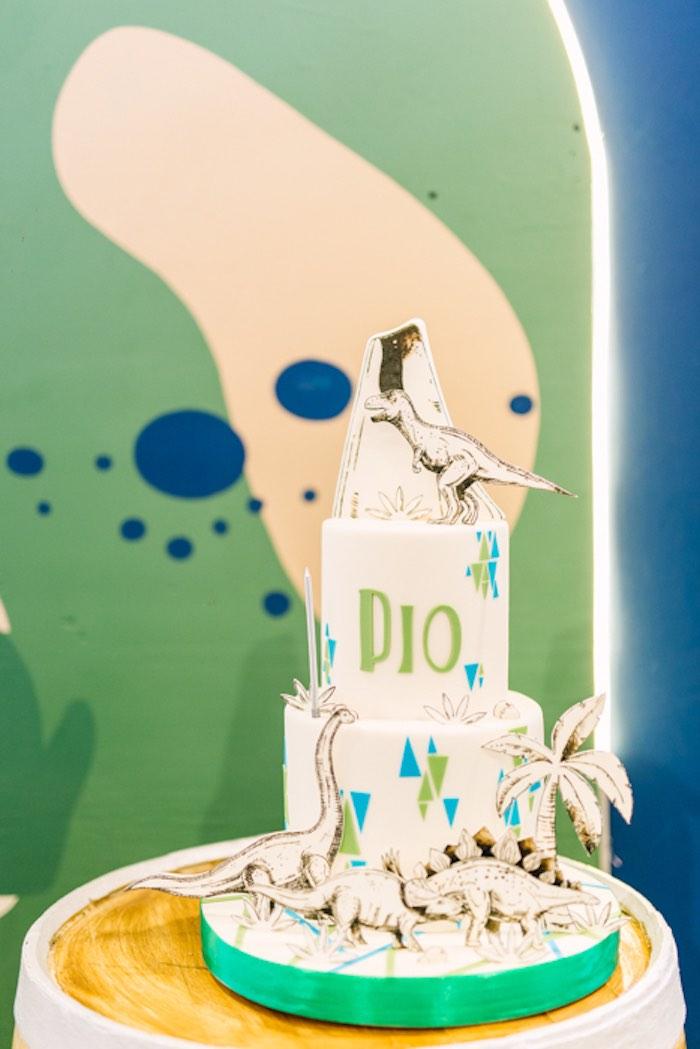 Mod Dinosaur Cake from a Modern Rustic Dinosaur Birthday Party on Kara's Party Ideas | KarasPartyIdeas.com (50)