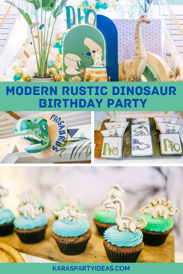 Modern Rustic Dinosaur Birthday Party via KarasPartyIdeas - KarasPartyIdeas.com
