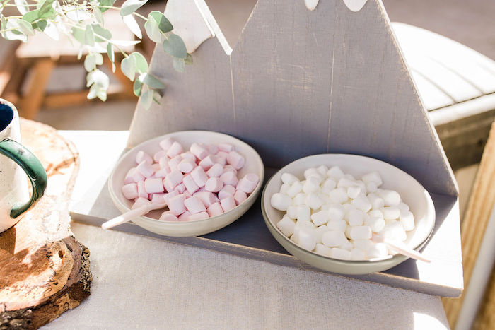 Hot Cocoa Marshmallows from a Mountain Camping Outdoor Baby Shower on Kara's Party Ideas | KarasPartyIdeas.com (26)