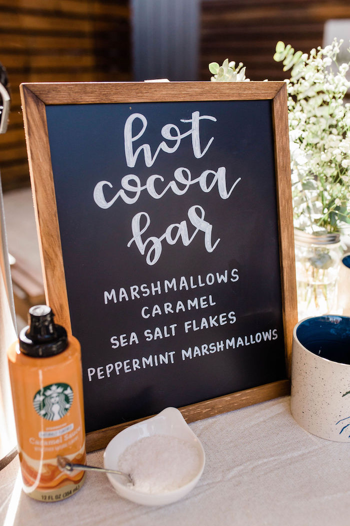 Hot Cocoa Bar Chalkboard Sign from a Mountain Camping Outdoor Baby Shower on Kara's Party Ideas | KarasPartyIdeas.com (25)