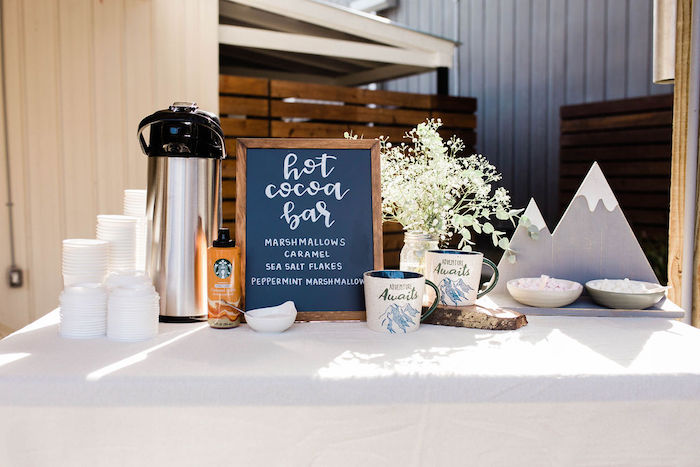 Hot Cocoa Bar from a Mountain Camping Outdoor Baby Shower on Kara's Party Ideas | KarasPartyIdeas.com (24)
