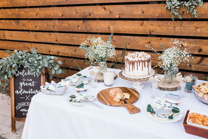 Rustic Chic Dessert Table from a Mountain Camping Outdoor Baby Shower on Kara's Party Ideas | KarasPartyIdeas.com (20)