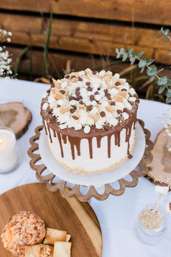 Smore's-inspired Drip Cake from a Mountain Camping Outdoor Baby Shower on Kara's Party Ideas | KarasPartyIdeas.com (19)