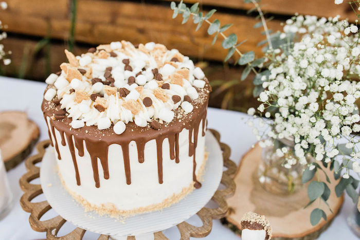 Smore's-inspired Drip Cake from a Mountain Camping Outdoor Baby Shower on Kara's Party Ideas | KarasPartyIdeas.com (18)