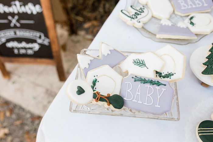 Rustic Baby Cookies from a Mountain Camping Outdoor Baby Shower on Kara's Party Ideas | KarasPartyIdeas.com (14)