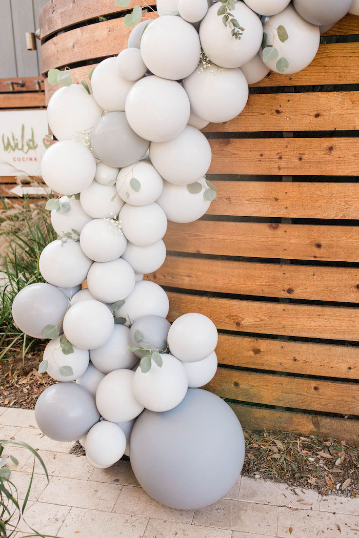 Monochromatic Leaf-filled Balloon Garland from a Mountain Camping Outdoor Baby Shower on Kara's Party Ideas | KarasPartyIdeas.com (11)