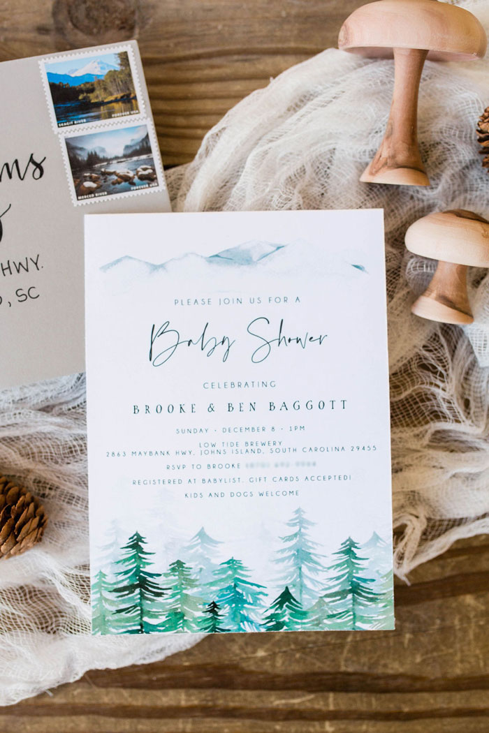 Mountain Tree Party Invite from a Mountain Camping Outdoor Baby Shower on Kara's Party Ideas | KarasPartyIdeas.com (34)
