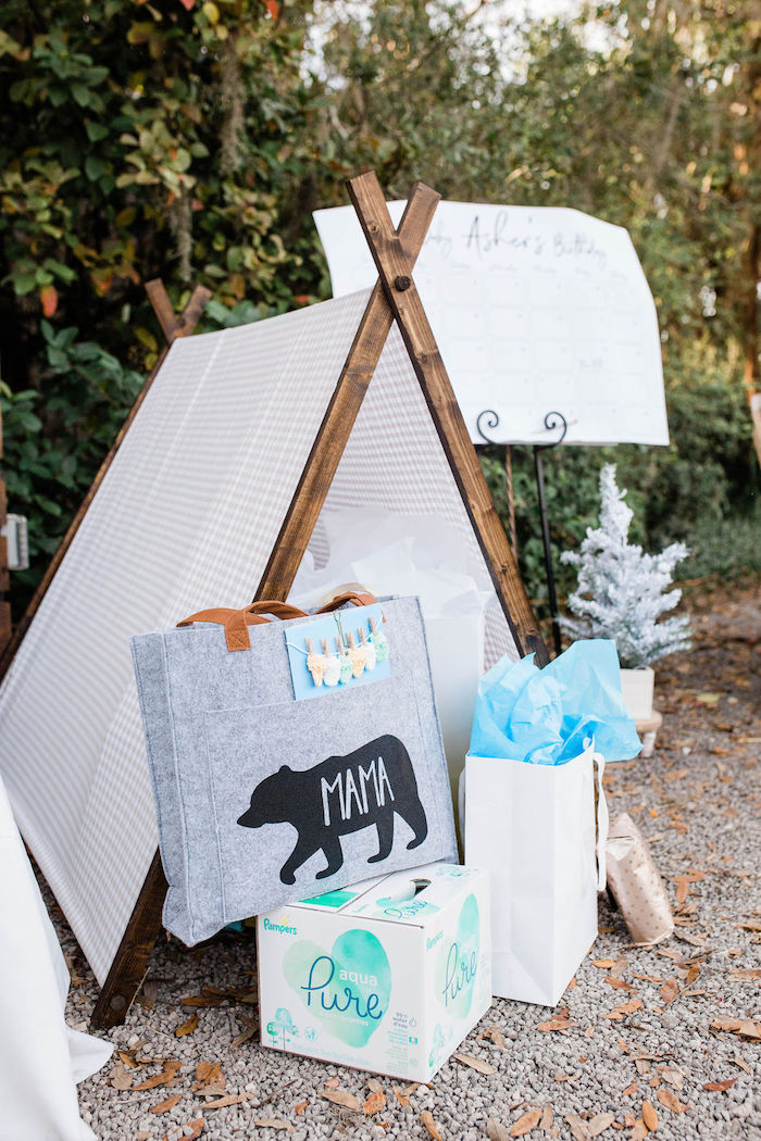 Gift Tent from a Mountain Camping Outdoor Baby Shower on Kara's Party Ideas | KarasPartyIdeas.com (6)