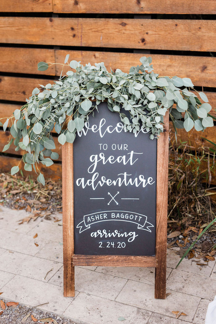Calligraphy Chalkboard Sign from a Mountain Camping Outdoor Baby Shower on Kara's Party Ideas | KarasPartyIdeas.com (5)