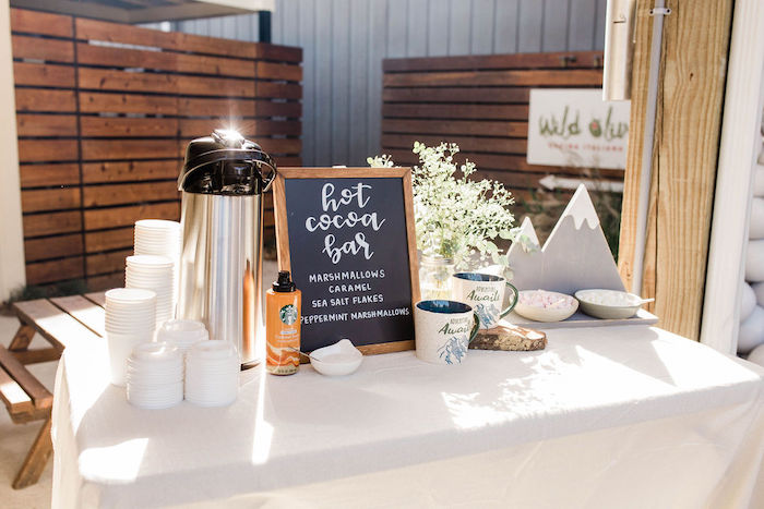 Hot Cocoa Bar from a Mountain Camping Outdoor Baby Shower on Kara's Party Ideas | KarasPartyIdeas.com (29)