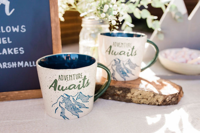 Adventure Awaits - Hot Cocoa Mugs from a Mountain Camping Outdoor Baby Shower on Kara's Party Ideas | KarasPartyIdeas.com (28)