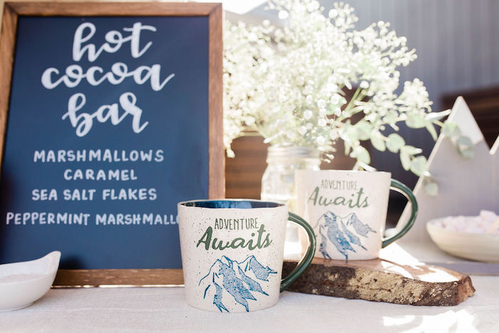 Adventure Awaits - Hot Cocoa Mugs from a Mountain Camping Outdoor Baby Shower on Kara's Party Ideas | KarasPartyIdeas.com (27)