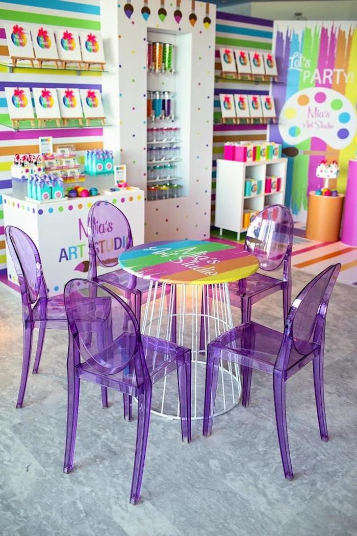 Art Party Tables from a Neon Art Party on Kara's Party Ideas | KarasPartyIdeas.com (36)