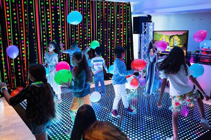 Neon Dance Floor from a Neon Art Party on Kara's Party Ideas | KarasPartyIdeas.com (35)