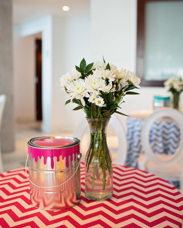 Paint Can Centerpiece + Party Table from a Neon Art Party on Kara's Party Ideas | KarasPartyIdeas.com (30)