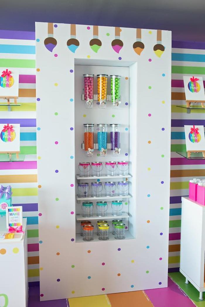 Rainbow Candy Buffet from a Neon Art Party on Kara's Party Ideas | KarasPartyIdeas.com (28)