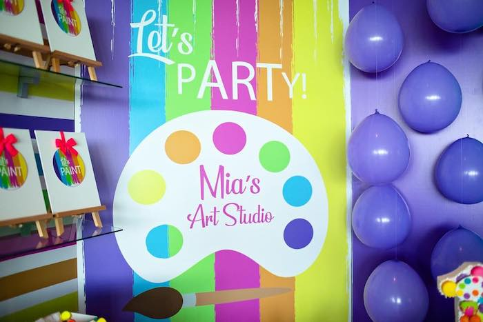 Paint Palette Backdrop from a Neon Art Party on Kara's Party Ideas | KarasPartyIdeas.com (27)