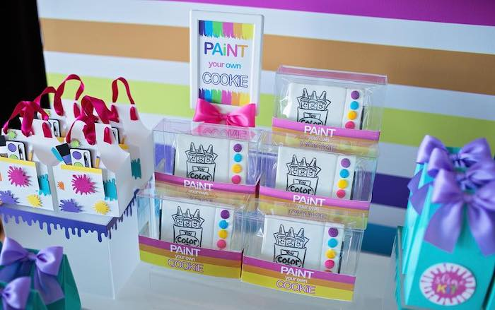 Paintable Cookies from a Neon Art Party on Kara's Party Ideas | KarasPartyIdeas.com (24)