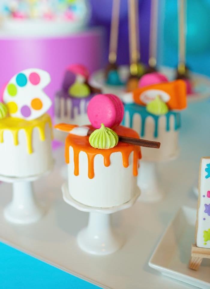 Mini Art Cakes from a Neon Art Party on Kara's Party Ideas | KarasPartyIdeas.com (23)