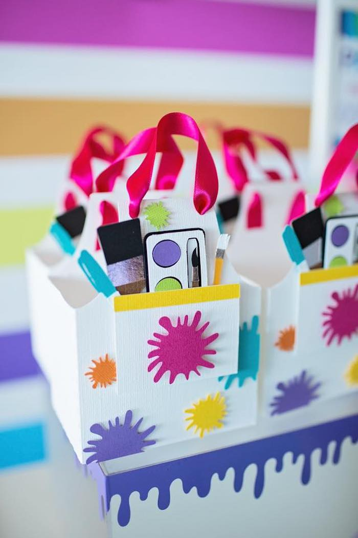 Paint Splatter Favor Boxes from a Neon Art Party on Kara's Party Ideas | KarasPartyIdeas.com (22)