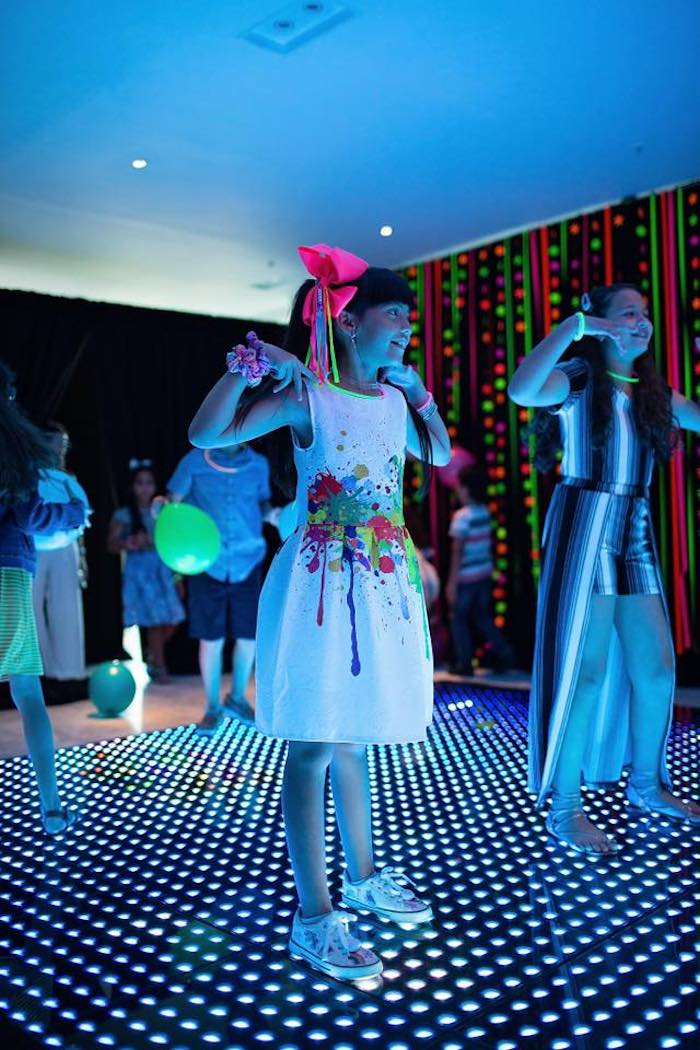 Neon Dance Floor from a Neon Art Party on Kara's Party Ideas | KarasPartyIdeas.com (18)