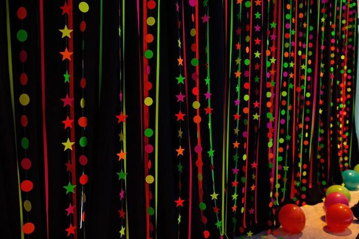 Neon Garland Curtain from a Neon Art Party on Kara's Party Ideas | KarasPartyIdeas.com (16)