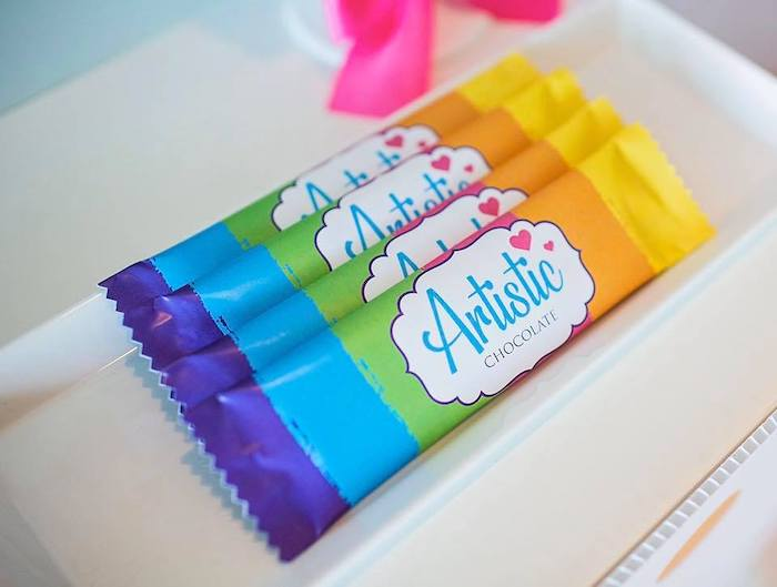 Rainbow Candy Bars from a Neon Art Party on Kara's Party Ideas | KarasPartyIdeas.com (13)
