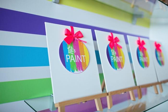 Paint Canvas Favors from a Neon Art Party on Kara's Party Ideas | KarasPartyIdeas.com (12)