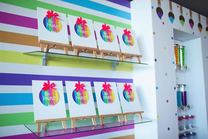 Paint Canvas Favors from a Neon Art Party on Kara's Party Ideas | KarasPartyIdeas.com (11)