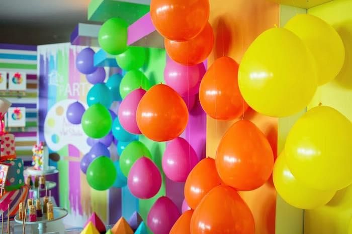 Rainbow Balloon Wall + Backdrop from a Neon Art Party on Kara's Party Ideas | KarasPartyIdeas.com (10)