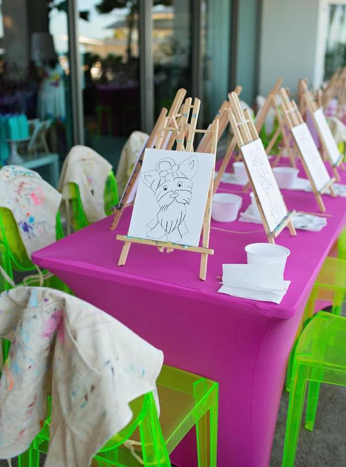Printed Canvases to Paint from a Neon Art Party on Kara's Party Ideas | KarasPartyIdeas.com (6)