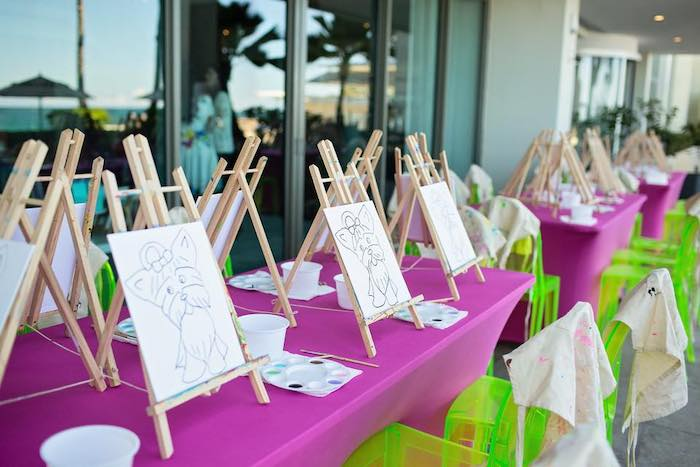 Paint Table from a Neon Art Party on Kara's Party Ideas | KarasPartyIdeas.com (42)